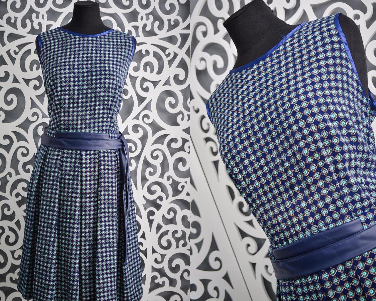 """Удобное повседневное летнее женское платье """"штапель"""" пояс из """"экокожи"""" 50 ,52 размер батал"""