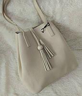 Модная женская сумка-мешок качественная эко-кожа цвет бежевый