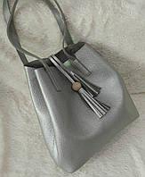 Модная женская сумка-мешок качественная эко-кожа цвет серебрянный