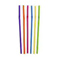 Трубочки д/напоїв гофр. d=4.8мм L=210мм, 200 шт кольорова Інпак