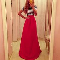Платье золотой песок в пол с красным низом