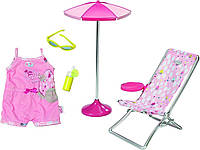 Шезлонг, зонт и одежда для куклы Baby Born Zapf Creation (822395)***