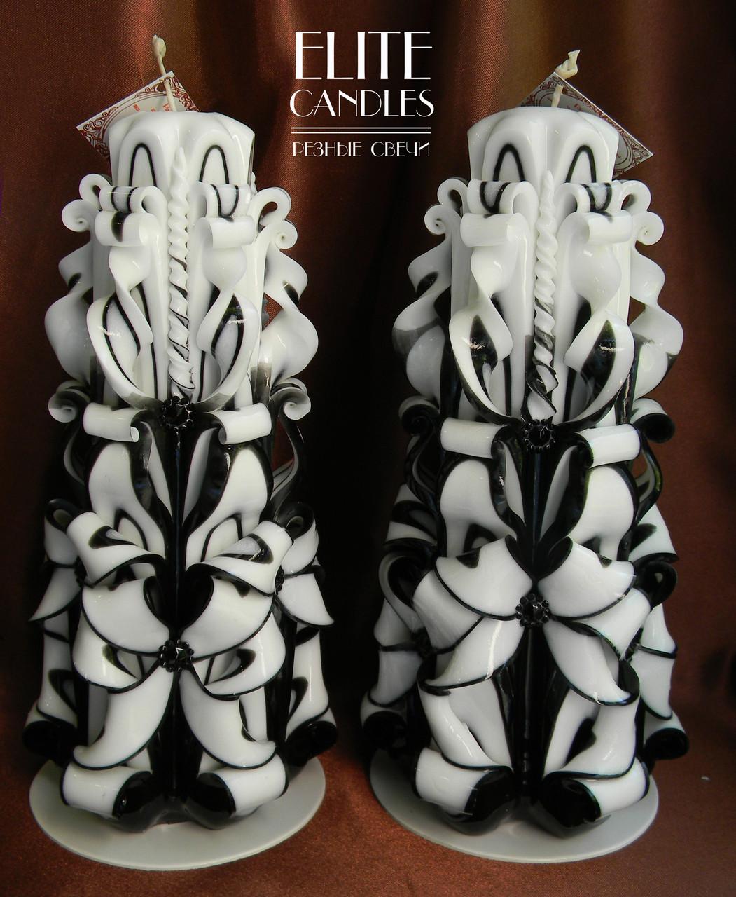 Черные свадебные свечи. Высокие 22 см, с бусинками внутри белые.