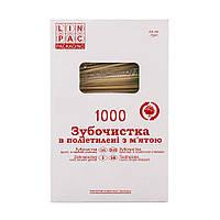 Зубочистки 65 мм 1000 шт в целофанi м'ята