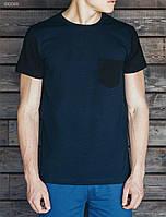 Молодежная футболка двухцветная Staff pocket navy black