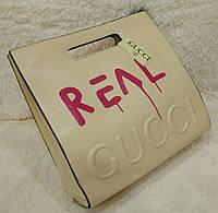 Женская брендовая сумка Gucci Гуччи бежевая