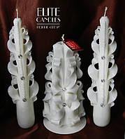 Белые свадебные свечи ручной работы для церемонии зажигания семейного очага