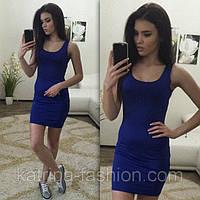 Женское повседневное короткое синее платье-майка