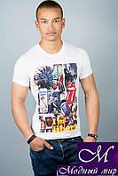 Мужская белая летняя футболка (р. 44-52) арт. 3014