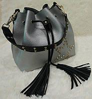 Женская модная сумка-мешок с кисточками цвет серебрянный