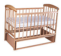 Детская кроватка для новорожденных НАТАЛКА светлая маятник
