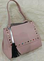 Женская модная сумка с заклепками качественная эко-кожа цвет розовый