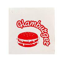 """Куток д/гамбургера з перг. 150*140  з написом """"Gam-bur-ger"""" 2000 шт, 40 г/м2, білий"""