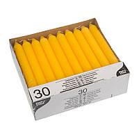 Свiчка 19,6 см 30шт жовта до 7-ми годин, PapStar
