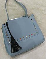 Женская модная сумка с заклепками качественная эко-кожа цвет голубой
