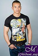 Мужская черная летняя футболка (р. 44-52) арт. 3014