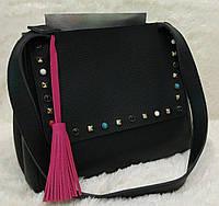 Женская модная сумка с заклепками качественная эко-кожа цвет черный