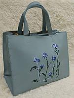 Женская модная сумка с вышивкой качественная эко-кожа цвет голубой