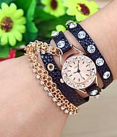 Кожаные женские часы-браслет Sparkling Rhinestone