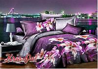 """Комплект постельного белья Евро двуспальный, п/э 3D """"Фиолетовое море"""""""