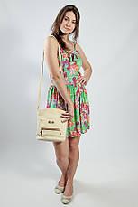Женское платье - сарафан на бретелях летнее зеленое натуральное, фото 3