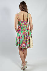 Женское платье - сарафан на бретелях летнее зеленое натуральное, фото 2
