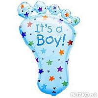 Фольгированный воздушный шарик Ножка малыша голубая 70 х 42 см.