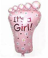 Фольгированный воздушный шарик Ножка малыша розовая 70 х 42 см.
