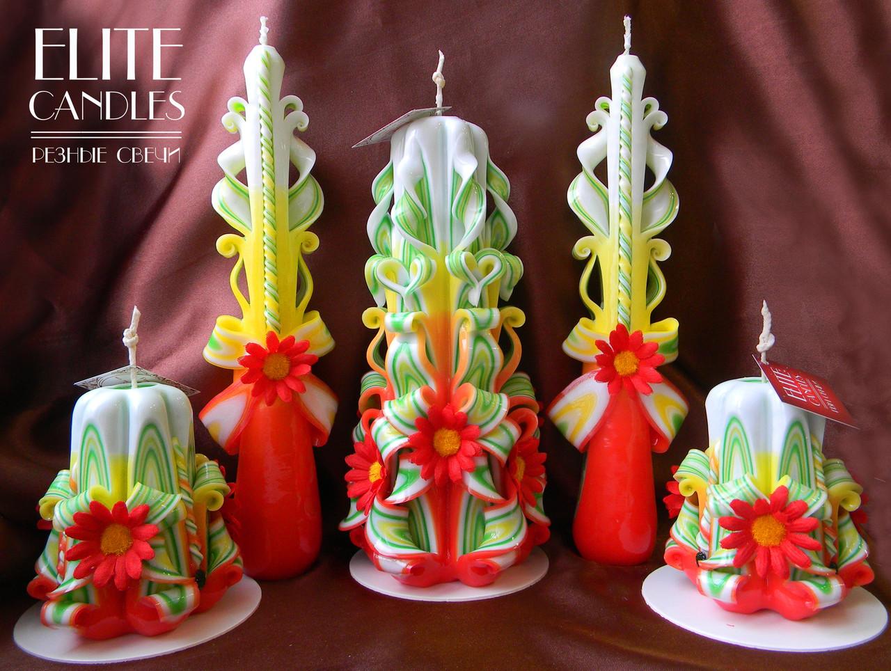 Свадебные свечи с украшениями для очага