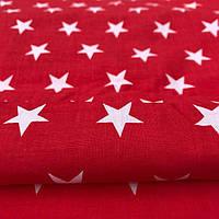 """Ткань """"белые звезды на красном"""""""