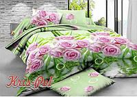 """Комплект постельного белья Евро двуспальный, п/э 3D """"Сиреневые розы"""""""