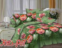 """Комплект постельного белья Евро двуспальный, п/э 3D """"Тюльпаны на зеленом"""""""