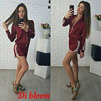 Женский шелковый спортивный костюм шорты и кофта