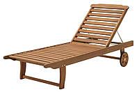 Лежак шезлонг на колесиках из дерева (твердое дерево хардвуд) 71х198 см