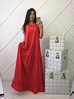 Стильное длинное платье, красное