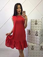 Летнее красное платье по колено