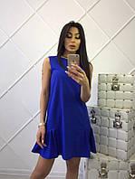 Оригинальное синее платье до середины бедра