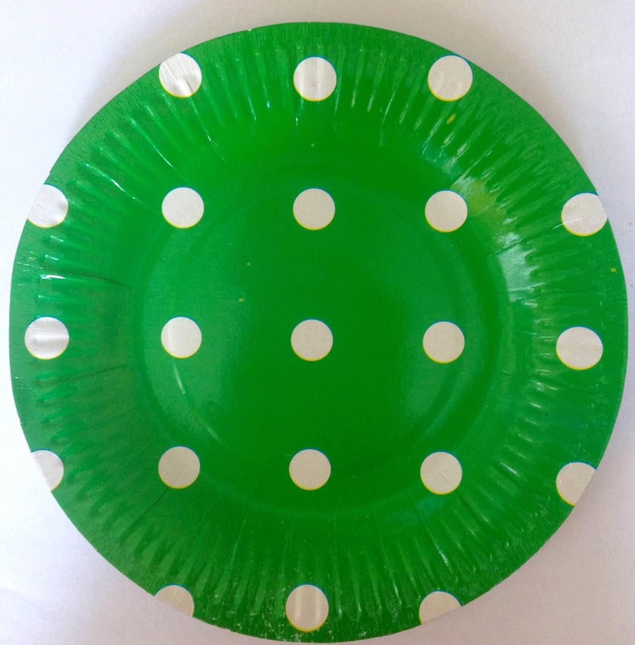"""Тарелочка """"Зеленая в горошек"""" 18 см диаметр"""