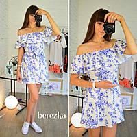 Стильное женское короткое льняное платье