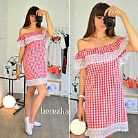 Модное женское хлопковое платье с кружевом