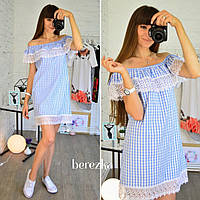 Стильное женское повседневное платье из хлопка с кружевом