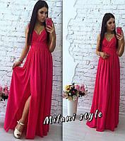 Розовое вечернее платье из шифона