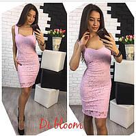 Гипюровое лиловое приталенное платье