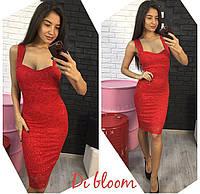 Гипюровое красное приталенное платье
