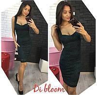 Гипюровое черное приталенное платье