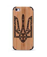 Дерев'яний чохол з гравіюванням для Apple iPhone 5 Wooden Bamboo Case Герб України