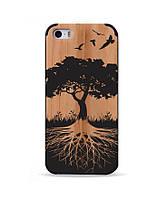 Деревянный чехол с гравировкой для Apple iPhone 5 Wooden Bamboo Case Tree