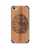 Деревянный чехол с гравировкой для Apple iPhone 5 Wooden Bamboo Case Brain