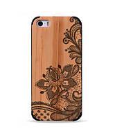 Дерев'яний чохол з гравіюванням для Apple iPhone 5 Wooden Bamboo Case Flower