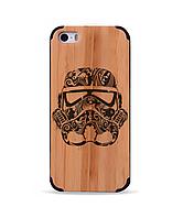Дерев'яний чохол з гравіюванням для Apple iPhone 5 Wooden Bamboo Case Stormtrooper Helmet